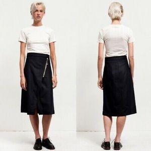 Acne Panna black wool a line skirt